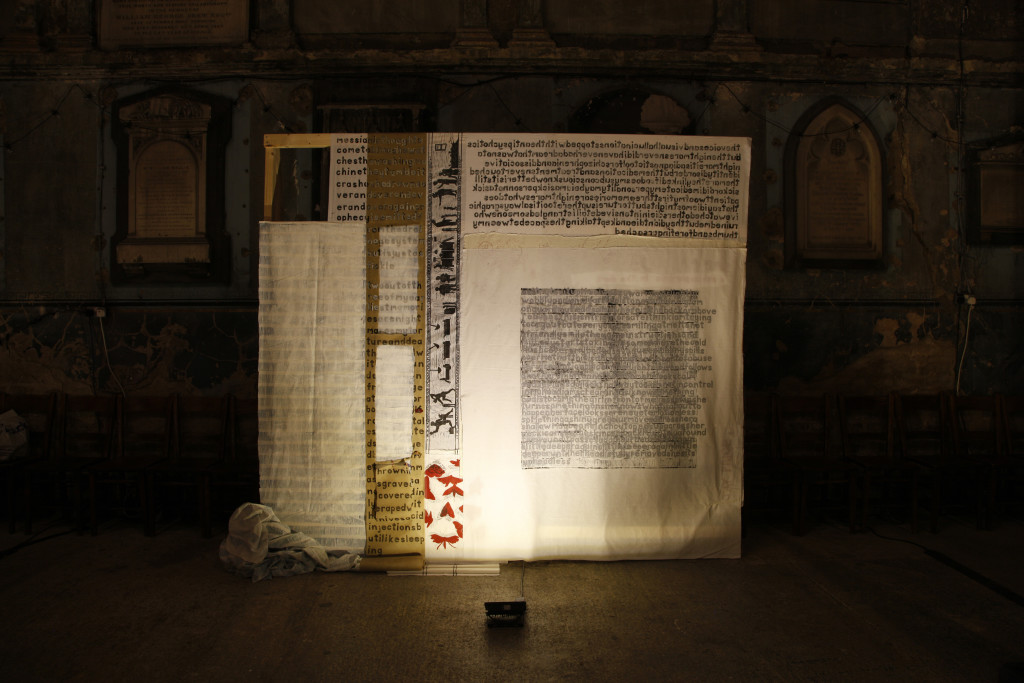 JPRICE_schizophrenicinthedark_SITD_2017, hand carved letters printed one at a time, relief carving, clay, textiles, pen, matches, ink, stitch, 273cm x 239cm